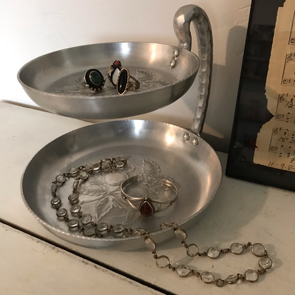 Vintage Aluminum Two Tier Serving Tray